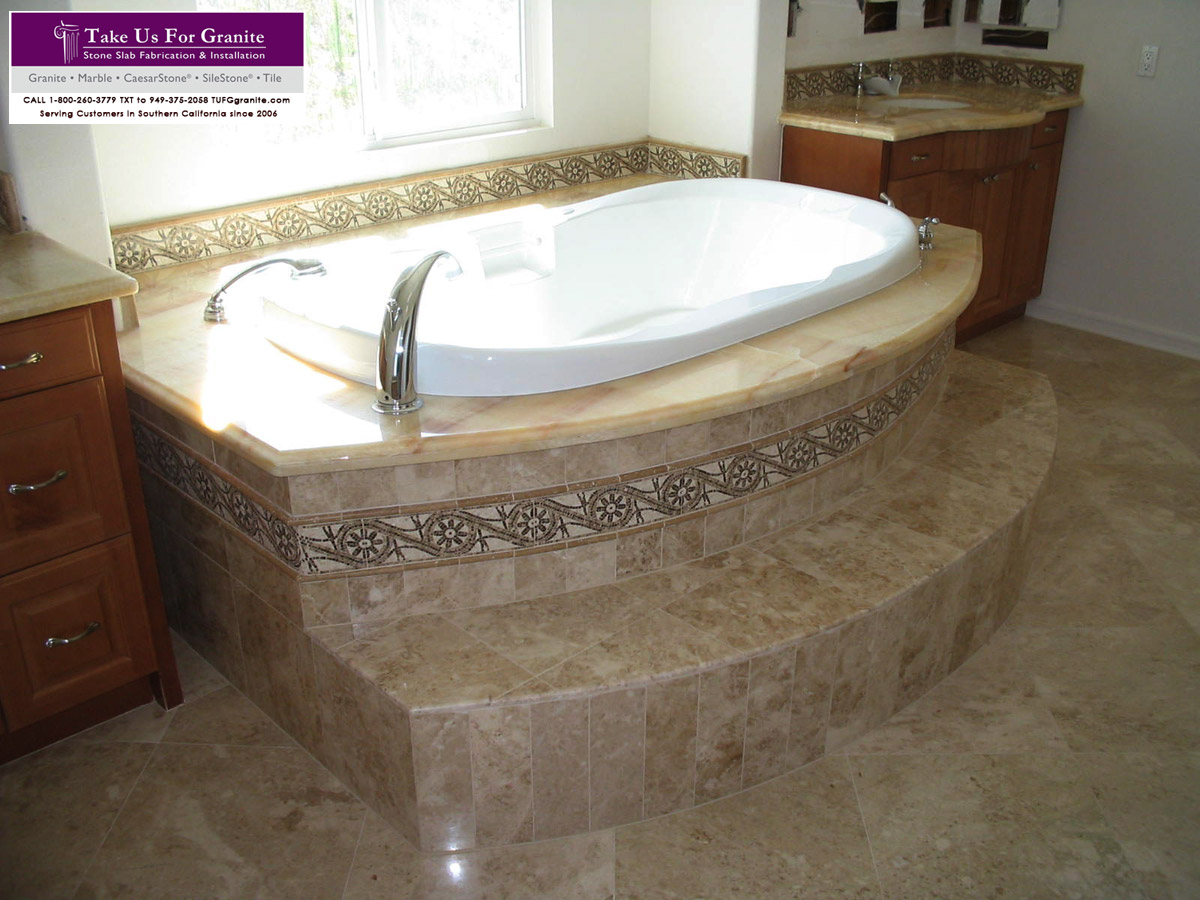 Marble Bathtub Deck with Travertine surround