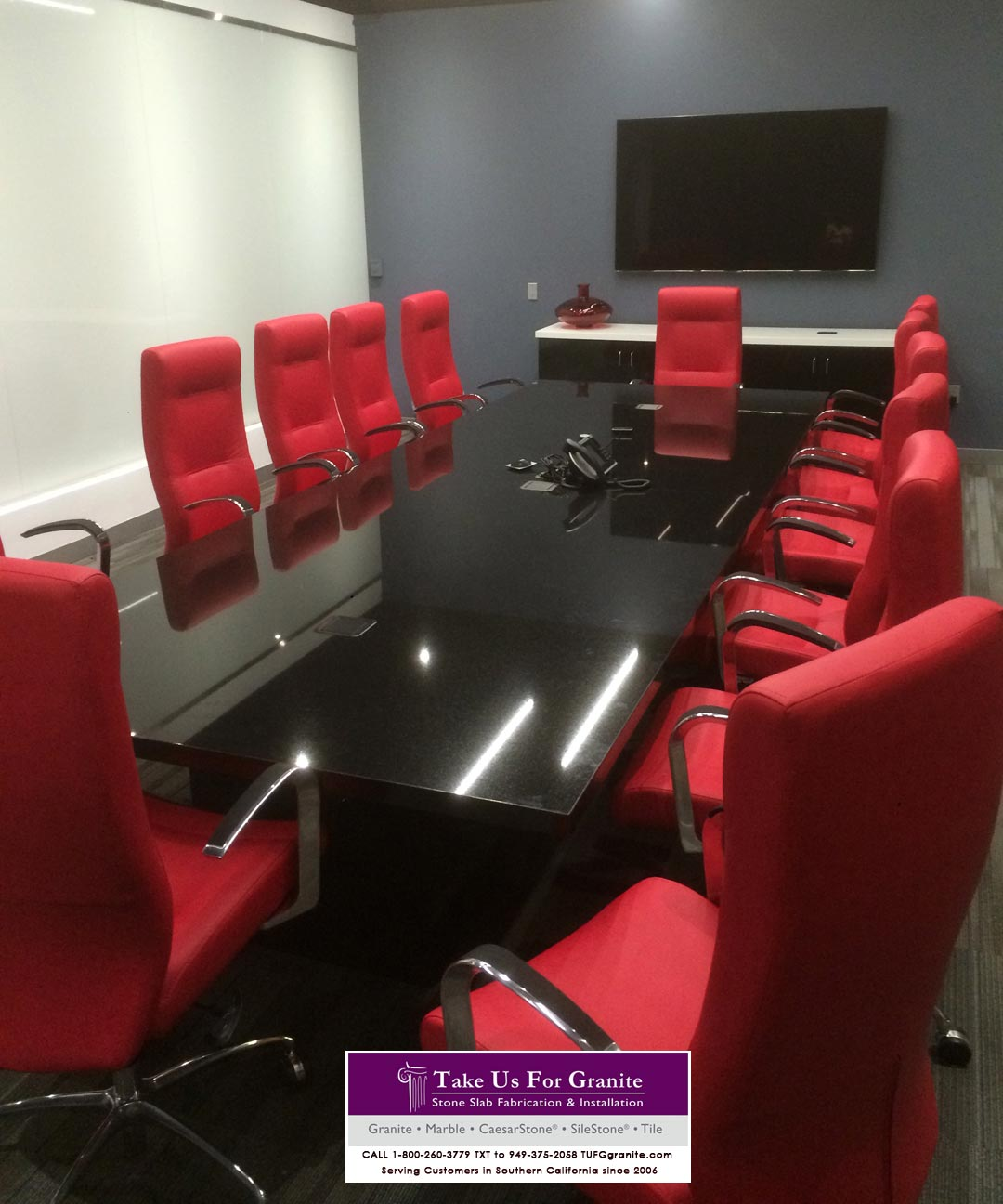 Conference room table. Black Galaxy Caesarstone Quartz